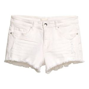 H&M white distressed shorts